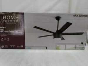 HDC Merwry 52 in. Int. LED Indoor Matte Black Ceiling Fan w/Light Kit & Remote