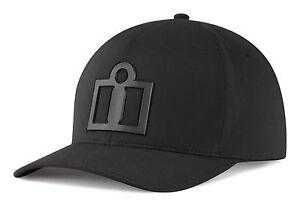 ICON Motosports Tech Hat/Cap, 6-Panel FlexFit Curved-Bill (Black) Choose Size