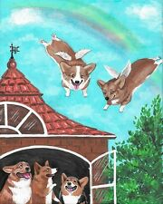 8x10 Print Of Painting Ryta Family Pembroke Welsh Corgi Rainbow Angel Pet Art