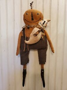 Primitive Grungy Little Pumpkin Boy Doll & His Halloween Ghost