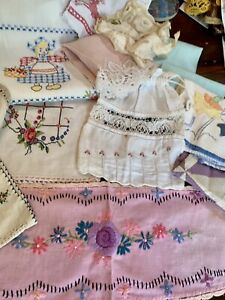 Vintage Lot Of 21 Pc Embroidered Linens, Tea Towels, Doilies Trims Madeira Lace
