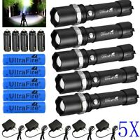 5X Tactical Police SWAT Heavy Duty 3W LED Rechargeable Flashlight Military Torch