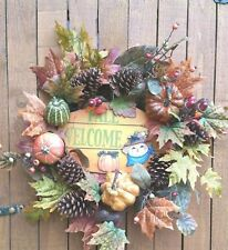 """22"""" Wreath FAll with Welcome Sign Gourds Pinecones and Pumpkins"""