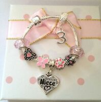Personalised girls kids childrens initial age pink charm bracelet in gift box