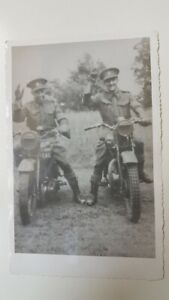 Vintage Photograph Young Men Military Uniform Army motorcycles