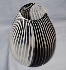 Vase Fadenglas, Murano, schwarz weiß, 17 cm