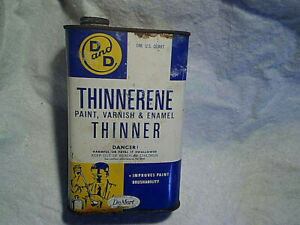 D & D THINNERENE PAINT VARNISH THINNER EMPTY ONE QUART CAN,Vintage 1950's,60's