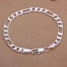 925Sterling Silver 8MM Flat 3-1 Men Figaro Chain Women Bracelet 8inch HY200