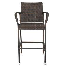 Set of 4 Brown Wicker Bar Stool Rattan Chair Patio Furniture Outdoor Backyard