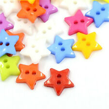 1000 pcs Acrylic Star Buttons Plastic Sewing Buttons Costume Design 2-Hole Dyed