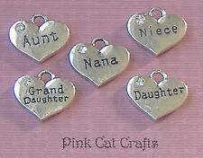 Set of 5 x Nana, Aunt, Neice, Daughter, Grand Daughter Charms Pendants Beads