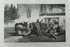 1877: ROMA.SCENE DI VITA  NELLA CAMPAGNA ROMANA .LAZIO.Xilo o in Passepartout.