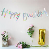 Bunting Garland Happy Birthday Rose Gold Alphabet Party Hanging Banner Decor DIY