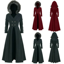 Women Hooded Button Long Sleeve Turn-down Collar Coat Vintage Gothic Long Jacket