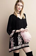 NWT Dress Tunic Floral Embroidered Swing Mini Bell Sleeves black pink lined M