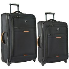 "Birmingham Black 25"" 29"" Water Resistant Rugged Rolling Luggage Suitcase Bag Set"