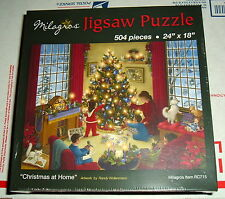 """CHRISTMAS AT HOME  Jigsaw Puzzle 504 pieces 24"""" by 18"""" NEW SEALED Dog Cat Child"""