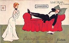 Lance Thackeray~Loving Leap Year Greeting~Lovely Lady Sees Her Chance~Man Sleeps