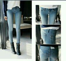 Pantaloni Jeans per Donna a Vita Bassa Stretti Skinny Aderenti Stretch da Casual