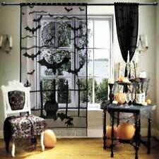 Black Bat Lace Sheer Door Window Curtain Panel Drape Cover Halloween Home Decor