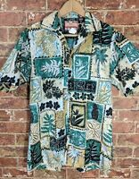VTG RJC sz S Button Up Shirt Collared Cotton Hawaiian Green Leaves Tiki