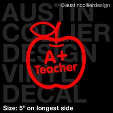 """5"""" A+ TEACHER vinyl decal car window laptop sticker - apple student gift"""