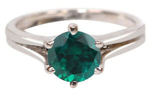 925 Sterling Silver & Round Shape 1.20CT Natural Zambian Emerald Solitaire Ring