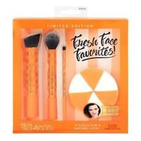 REAL TECHNIQUES Fresh Face 3 x MAKEUP BRUSH & 6 Blender SPONGES - Xmas Gift Set