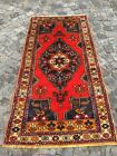 Vintage 1960s Bohemian Pure Wool 3x6 ft Red Traditional Turkish Hand-Woven Rug