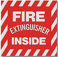 """(PACK OF 10)  """"FIRE EXTINGUISHER INSIDE"""" SELF-ADHESIVE VINYL SIGN'S...4"""" X 4"""""""