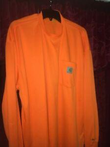 Men's CARHARTT 2X large Long Sleeve Force Pocket Crew Neck T Shirt Orange