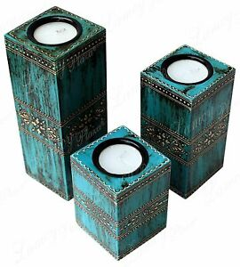 Antique Finish Table Top Tea Light Candle Holder - Set of 3