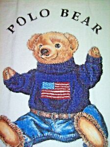 NEW Ralph Lauren Beach Towel Polo Flag Teddy Bear USA White NEW RARE READ