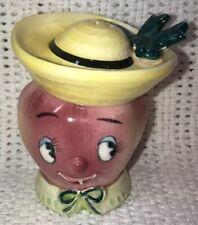 Vintage Apple Head & Hat Salt & Pepper Shakers Japan Anthropomorphic 1950s