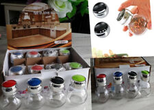 12 PIECE GLASS SPICE JAR SET KITCHEN HOME COOKING CHEF FOOD NEW