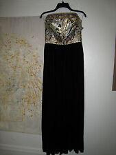 Leonard Paris vintage black velvet jacquard tube Top Long maxi evening dress S M
