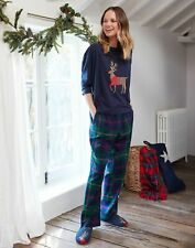 Joules Womens Goodnight Christmas Reindeer Pyjamas - Green Navy Check