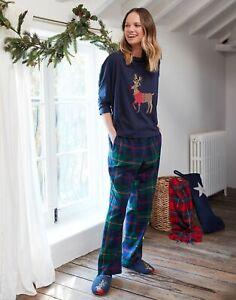 Joules Womens Goodnight Christmas Reindeer Pyjamas - Green Navy Check