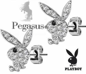 BOXED & OFFICIALLY LICENSED PLAYBOY Crystal Silver  Stud Earrings
