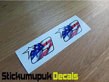 2 x USA Nicky Hayden Stickers Superbike MotoGP Moto GP 69 Helmet Small size 60mm