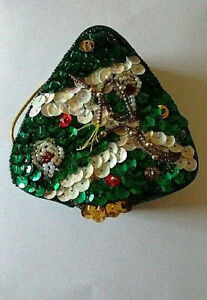 Vintage Sequined Bell Box Ornament
