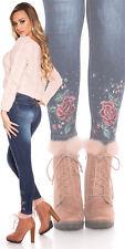 Skinny Jeans Blau Größe L Used-Look mit Blumen-Stickerei - Damen Fashion 40 Sexy