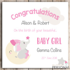 Personalised New Baby Girl Card Congratulations Parents It's a Girl Card