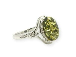 NATURAL BALTIC AMBER STERLING SILVER 925 Green Gamestone RING Certified & Box