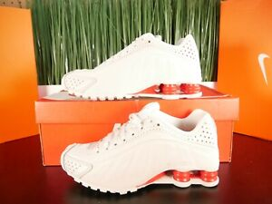 Nike Shox R4 White Platinum Tint Red Womens Running Shoes BV1387-002 Size 6-8.5