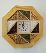 Kitchen Wooden Quality Wall Clock Octagon   (23.5CM) NEW