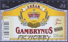 Poland Brewery Ciechanów Gambrynus Leżak Beer Label Bieretikett Cerveza ci60.1