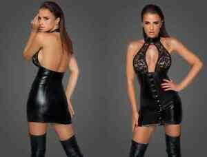 Noir Handmade Powerwetlook Kleid durchgehender Knopfleiste F224 Schwarz Größe L
