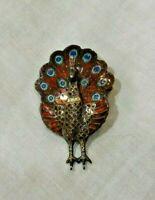 Vintage Sterling Silver & Enamel Peacock Pin or Brooch