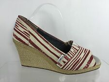 Toms Womens Ivory/Red Wedges 9.5